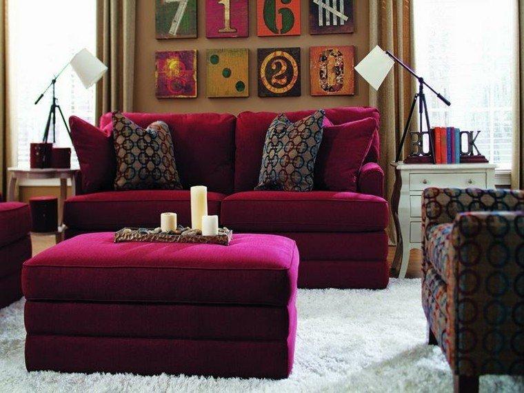conjunto sofas terciopelo color rojo