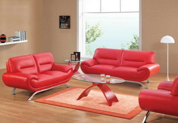 conjunto sofas rojos piel