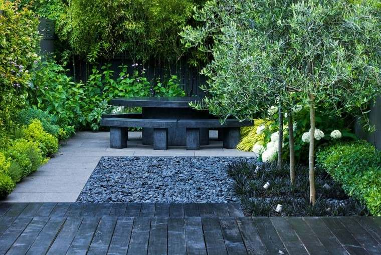 contemporaneo jardin estilo rocas bancos
