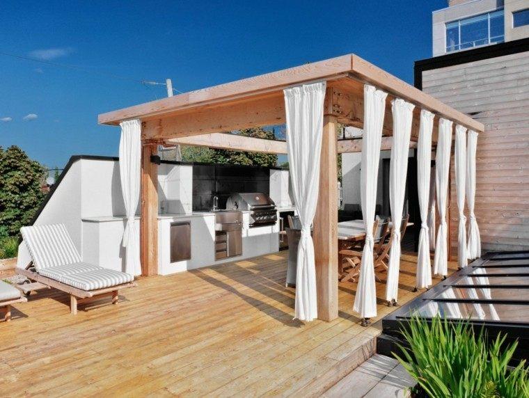 cortinas blancas pergola madera terraza