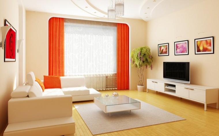 cortinas color naranja suelo madera