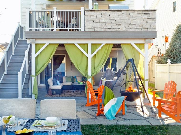 cortinas verdes lugar fuego sillas teca naranja ideas