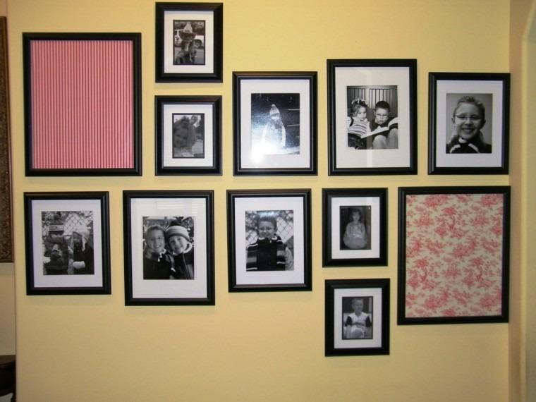 cuadros originales pared amarilla negro