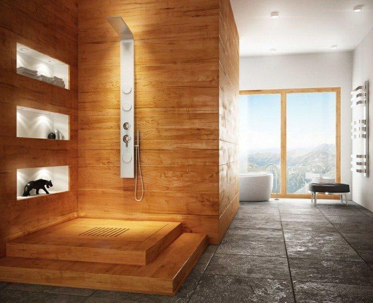 Baños Estilo Natural:cuarto baño estilo minimalista diseno moderno elementos naturales