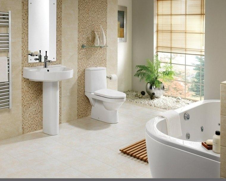 Jardin Vertical Baño:baño moderno al estilo minimalista con baldos pulidos de color blanco