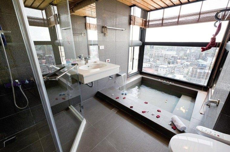 cuarto baño estilo minimalista diseno moderno losas oscuras ideas