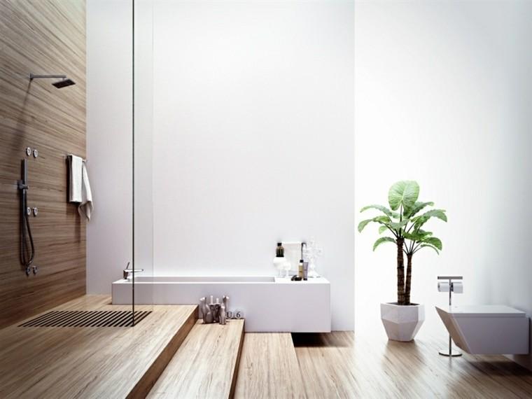 cuarto baño estilo minimalista diseno moderno madera ducha ideas