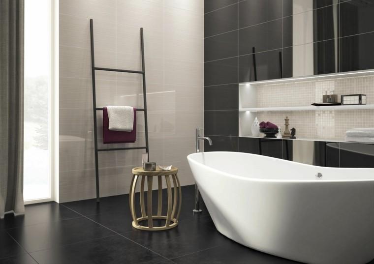 cuarto baño estilo minimalista diseno moderno mesita madera ideas