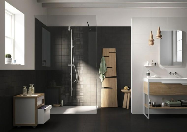 cuarto baño estilo minimalista diseno moderno paredes oscuras ideas