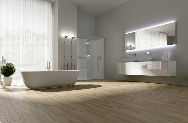 cuarto bao estilo minimalista diseno moderno suelo madera ideas