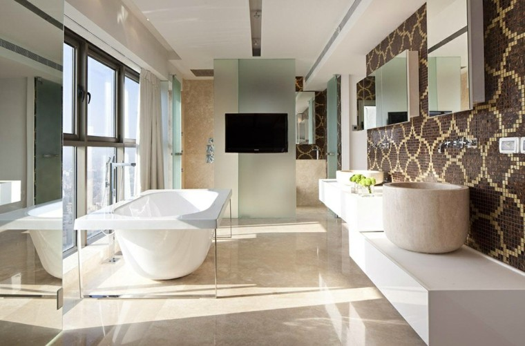 cuarto de baño diseno moderno estilo minimalista pared mosaico ideas