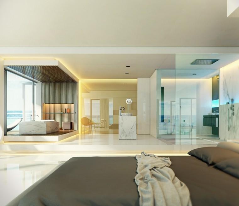 Cuarto de ba o con dise o moderno al estilo minimalista for Banos abiertos a la habitacion