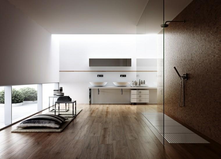 cuarto de baño estilo minimalista diseno moderno ducha suelo madera ideas
