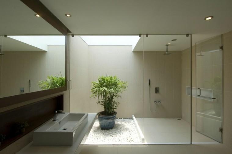 cuarto de baño estilo minimalista diseno moderno maceta ideas