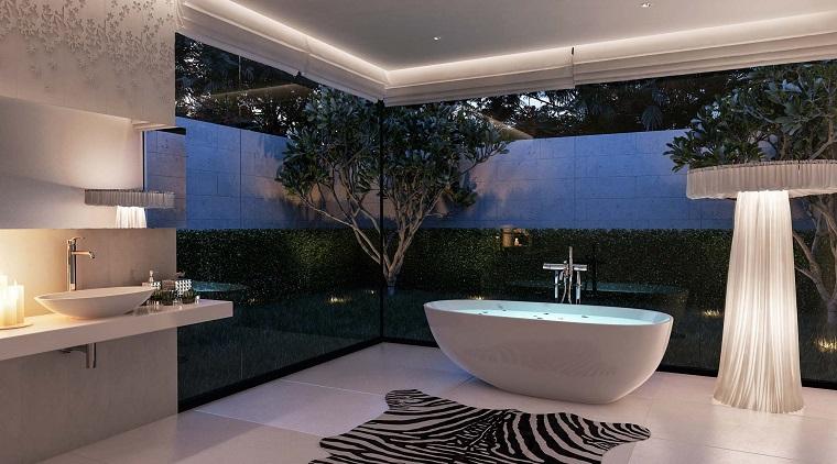 cuarto de baño estilo minimalista diseno moderno plantas ideas