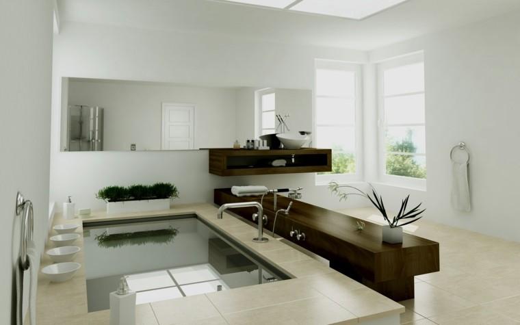 cuarto de baño estilo minimalista diseno moderno platos blancos ideas