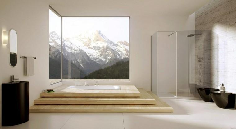 cuarto de baño estilo minimalista diseno moderno ventana grande ideas