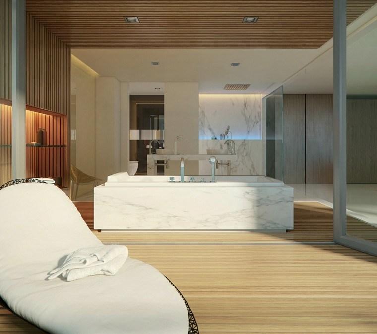 cuarto de baño estilo minimalista tumbona ideas