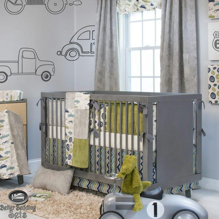 cuarto infantil gris deco coches