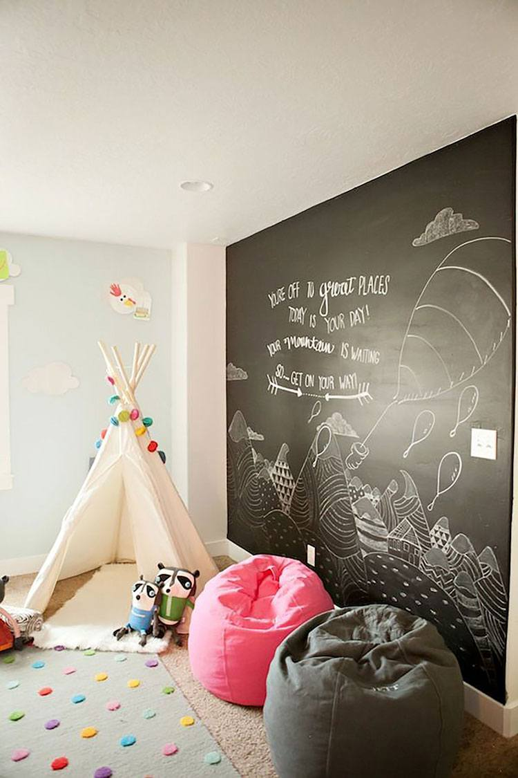 cuarto ninos puff decorar pared pizarra ideas