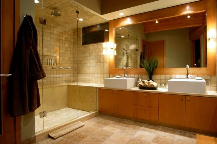 cuartos de bao con ducha espejo grande pared ideas