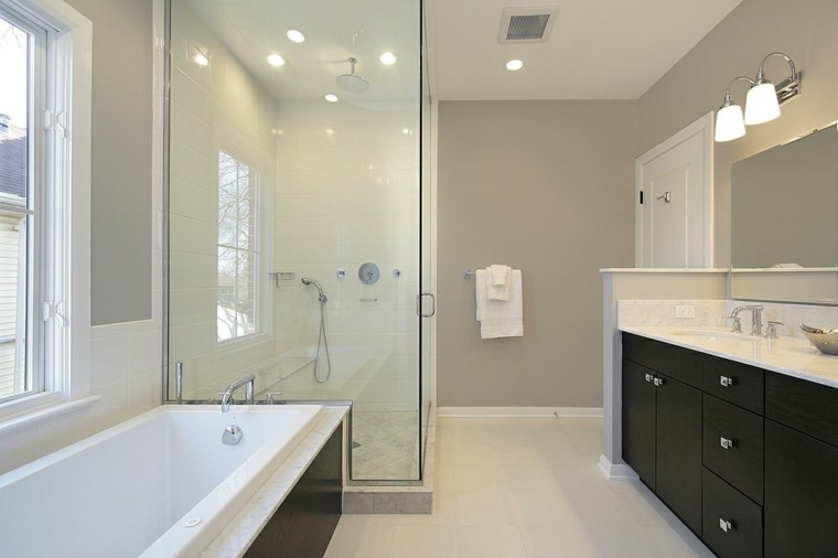 cuartos de bao con ducha muebles negros ideas