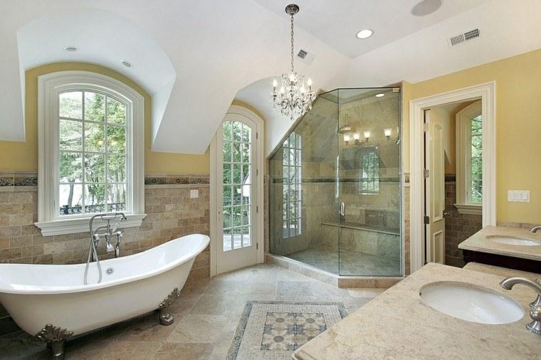 Limpiar Baño Amarillo:cuartos de baño con ducha puerta ventana luminoso ideas