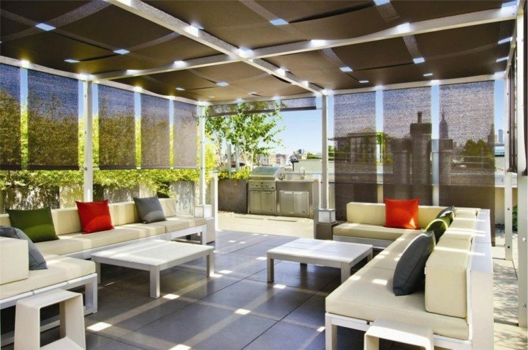 amazing cubierta pergola diseo terraza cojines with techado de terrazas