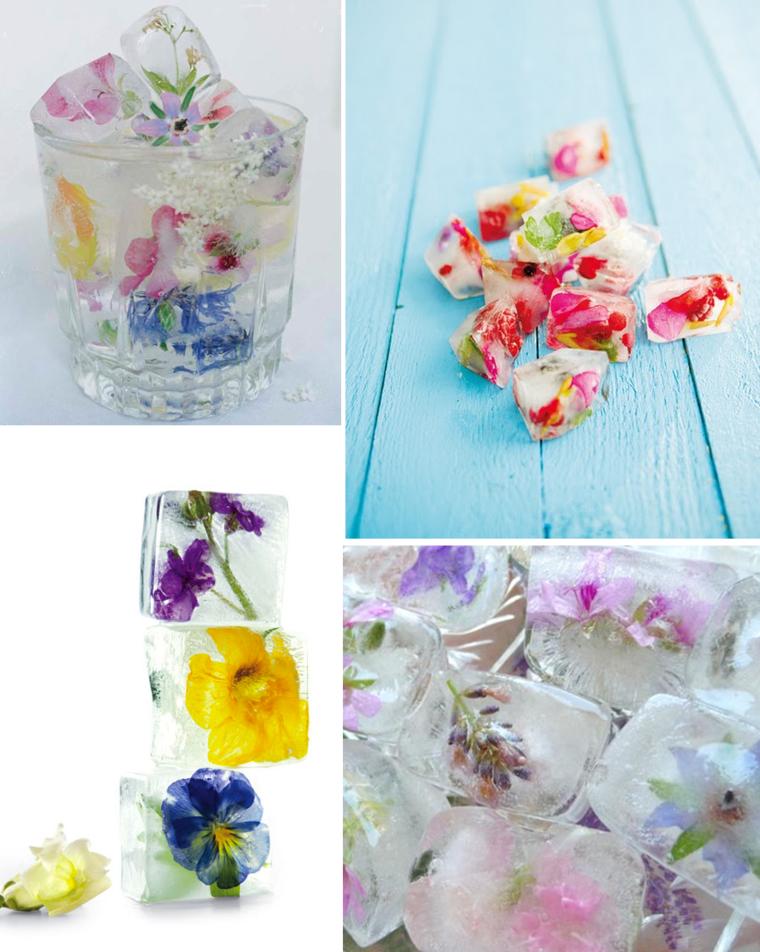 cubitos hielo flores colores
