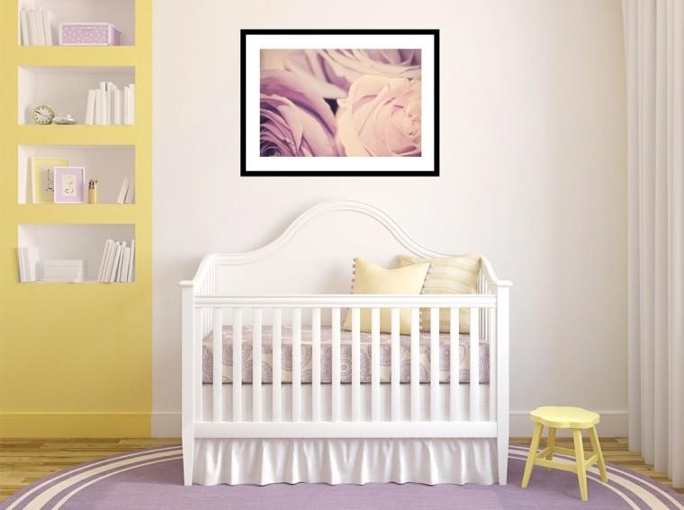 Decoracion habitacion bebe cincuenta dise os geniales for Habitacion lila y blanca