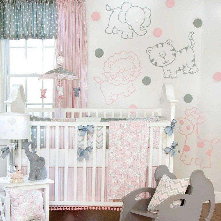 Decoracion habitacion bebe cincuenta dise os geniales - Habitacion gris y rosa ...