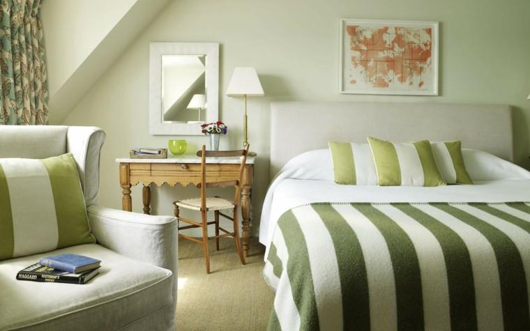 decoracion dormitorio bandas verdes