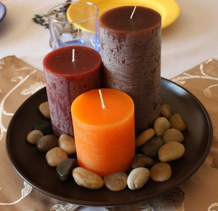 decoracion mesa velas piedras