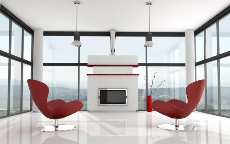 decoracion minimalista sillones rojos