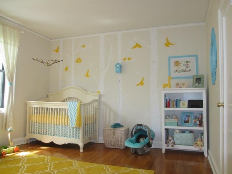 decorar paredes pajaros amarillos