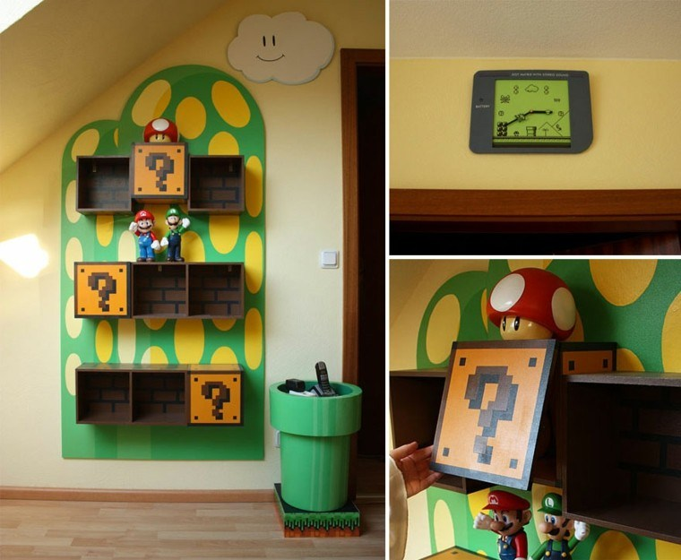 decoración pared super mario