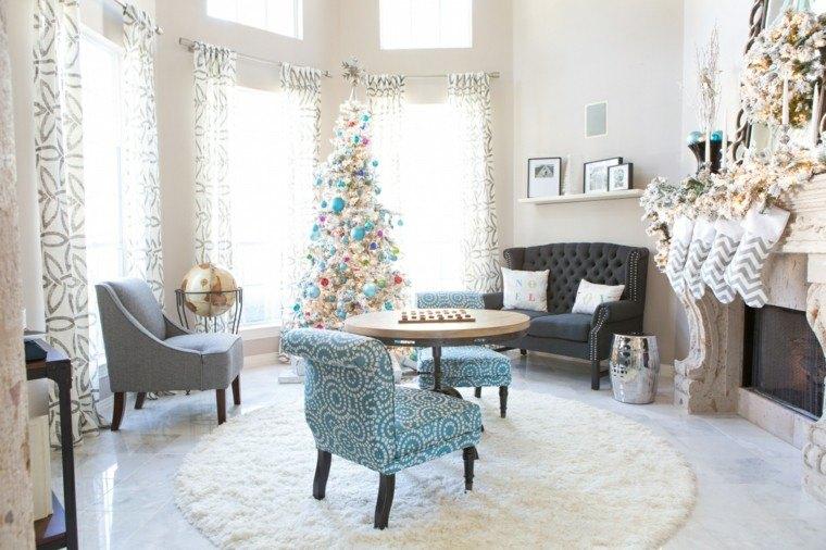 decoracin salon navidad colores claros globo mundo ideas