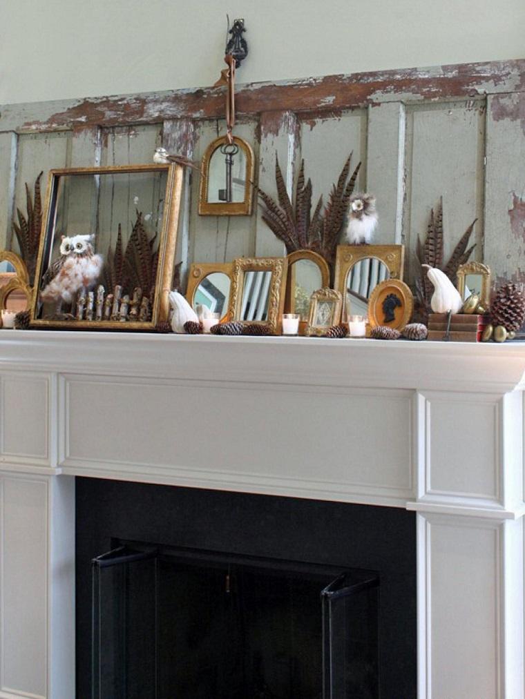 decoracion chimenea otono boho pinas pino ideas