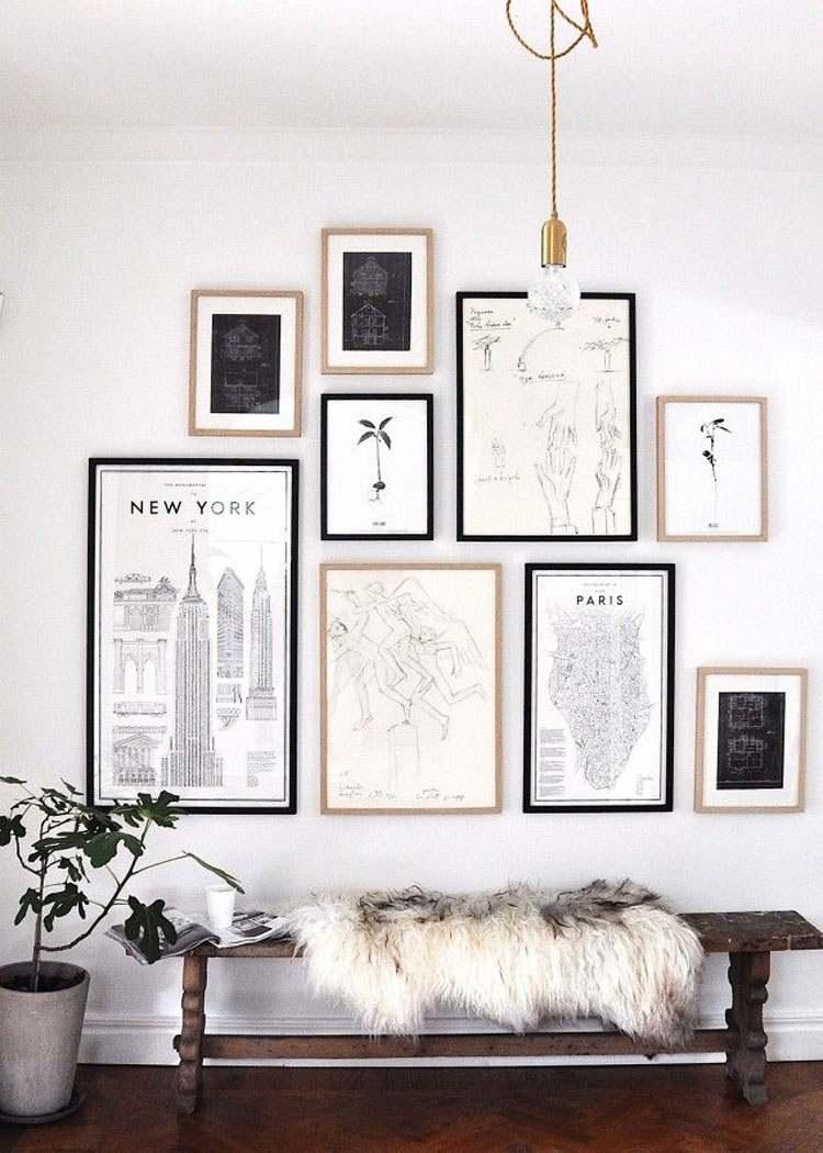 decoración de cuartos dibujos pared blanca ideas