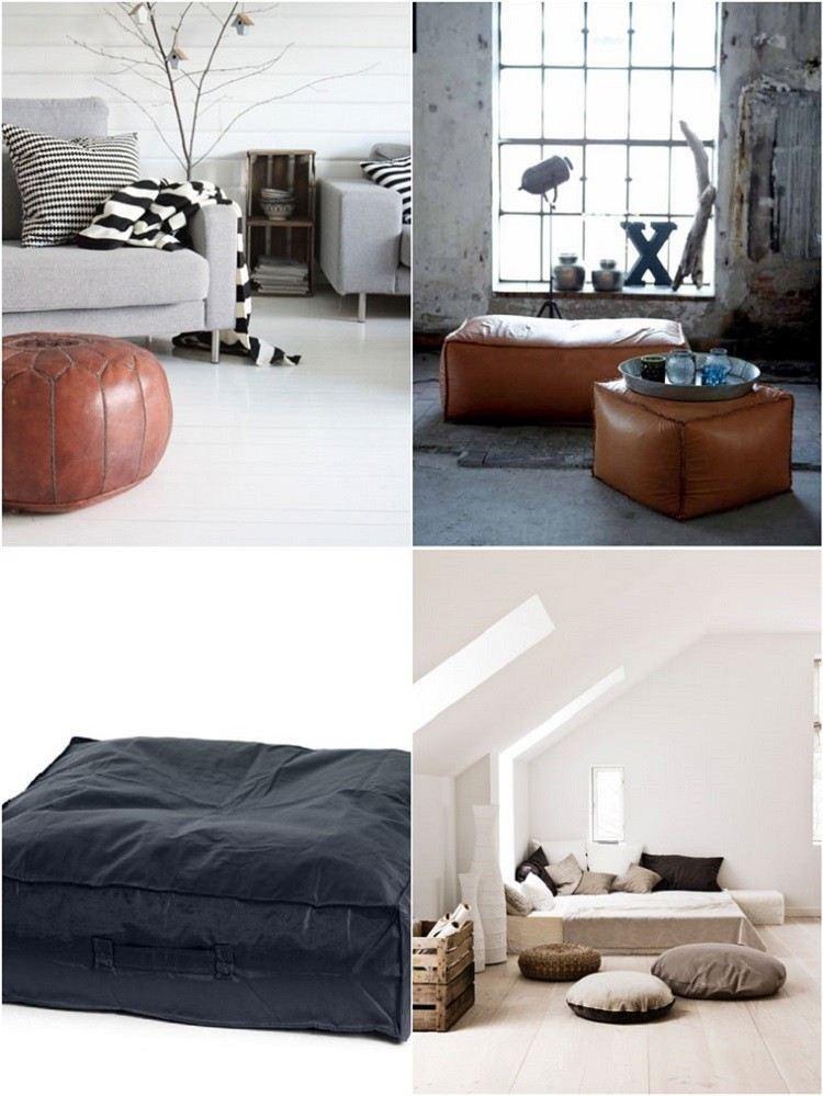 decoración de cuartos ideas taburetes cuero