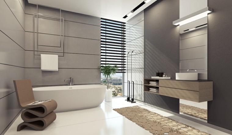 decoración de interiores bano moderno silla diseno blanco gris ideas