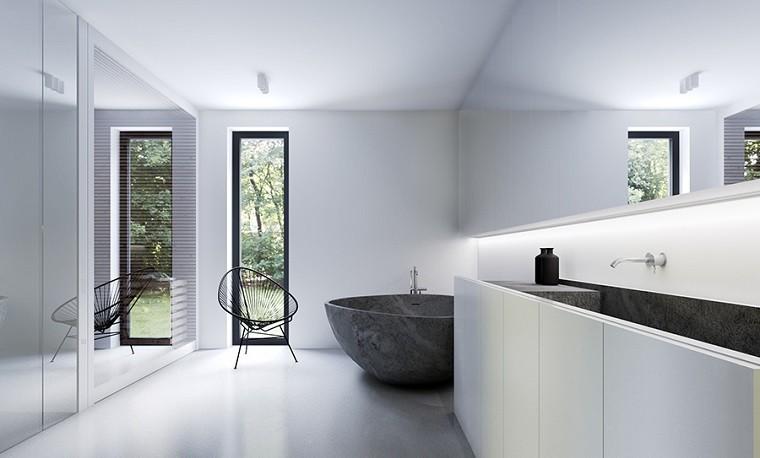 Decoraci n de interiores modernos en gris y blanco for Banos blancos y grises modernos