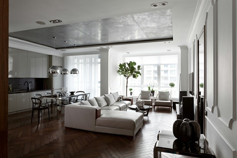 Decoraci n de interiores modernos en gris y blanco - Decoracion salon gris y blanco ...
