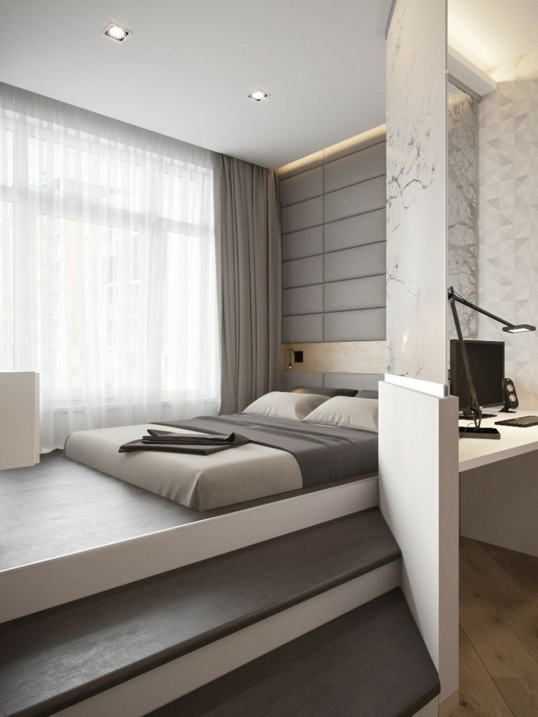 Decoraci n de interiores modernos en gris y blanco - Decoracion pared cama ...