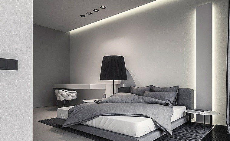 Decoraci n de interiores modernos en gris y blanco for Cuarto gris con blanco