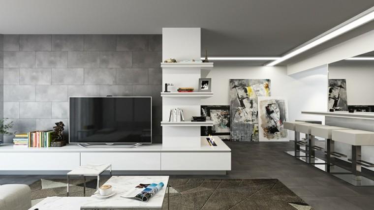 Decoraci n de interiores modernos en gris y blanco for Pintura gris para interiores