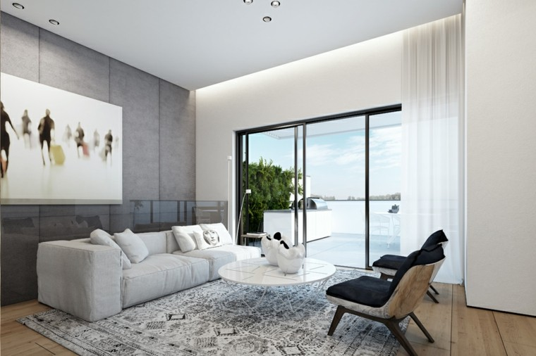Decoraci n de interiores modernos en gris y blanco - Ideas decorar salon moderno ...