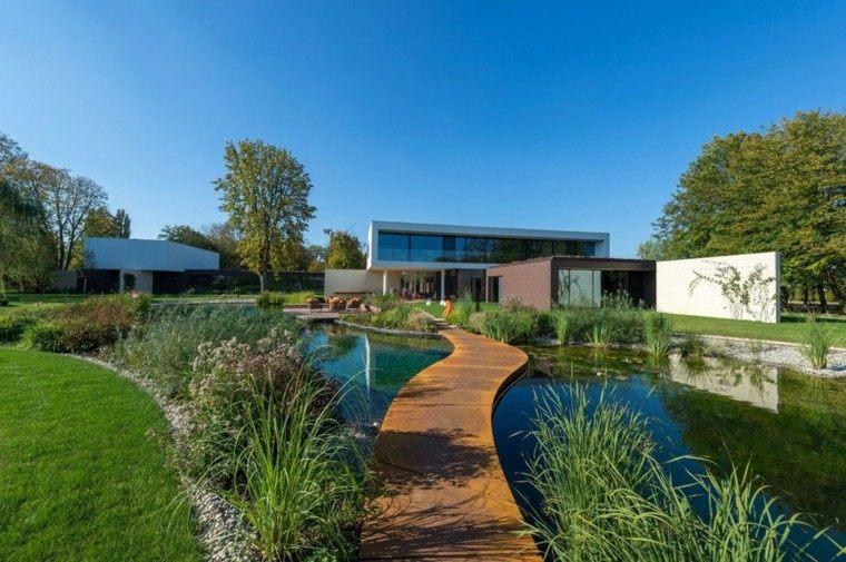 decoración de jardines amplio puente estanque grande ideas