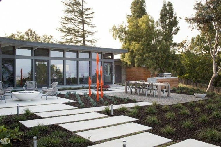 decoración de jardines estilo minimalista lugar fuego ideas