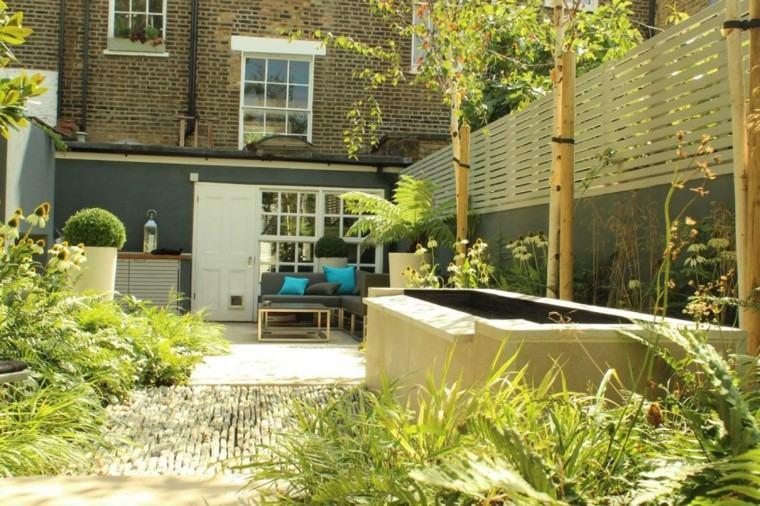 decoración de jardines suelo piedras muebles comodos ideas